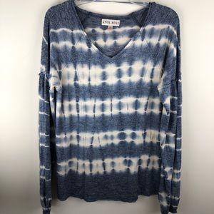 Knox Rose Blue Tie Dye Long Sleeve Top M P895